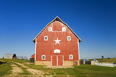 Red barn at a farm, near Edgewood, Iowa, United States of America