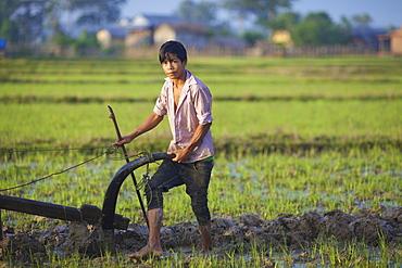 Bunong boy ploughing with Water Buffalo, Mondulkiri, Bangladesh