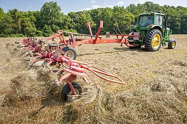 Tractor tedding hay, Sudlersville, Maryland, United States of America