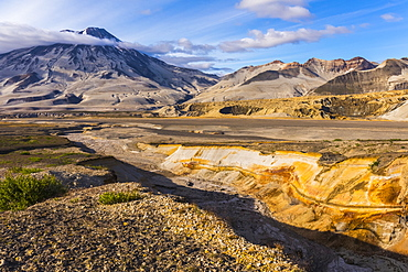 Mt. Griggs rises over the ash- and pumice-covered Valley of Ten Thousand Smokes in Katmai National Park. The ash-covered Knife Creek Glaciers can be seen coming out of the valley at right; Alaska, United States of America