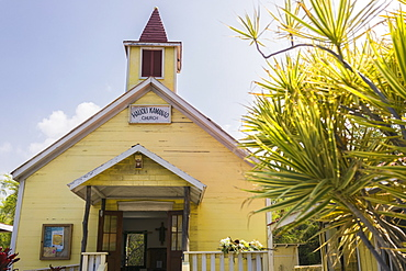 Hauoli Kamanoa Church in Milolii on the island of Hawaii. La Illima is an annual festival celebrating the lifting and transporting by 100 yards of this church, largely in tact by a tsunami in 1869, Milolii, Island of Hawaii, Hawaii, United States of Ameri
