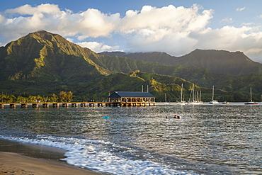 Hanalei Pier, bay and valley, Hanalei, Kauai, Hawaii, United States of America
