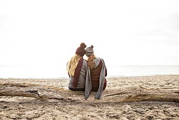 Two friends sitting on a log on Woodbine beach looking out to Lake Ontario, Toronto, Ontario, Canada