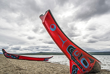 Tlingit long canoes on the shore of Teslin Lake, Teslin, Yukon, Canada