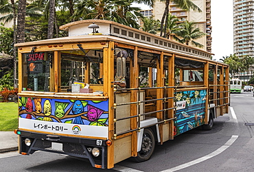 The Jalpak name and logo as seen on this Waikiki trolley rolling down Ala Moana Boulevard, a provider for Japanese tourists, Waikiki, Honolulu, Oahu, Hawaii, United States of America