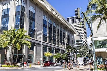 View North into Seaside Avenue from South side of Kalakaua Avenue with Waikiki Busines Plaza street level on the right in Waikiki, Honolulu, Oahu, Hawaii, United States of America