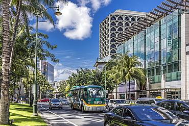 Looking towards the West along Kalakaua Avenue in Waikiki, Honolulu, Oahu, Hawaii, United States of America