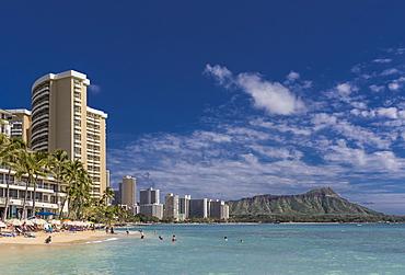 Waikiki Beach with Diamond head on the horizon, Waikiki, Honolulu, Oahu, Hawaii, United States of America