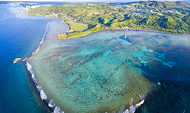Aerial view of Piti Bay, Fisheye Marine Park and the War in the Pacific National Historical Park, Asan, Guam, Micronesia