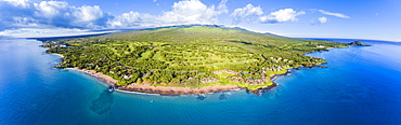 Aerial view of Po'olenalena Beach Park and the Wailea Golf Course, South Maui, Kihei, Maui, Hawaii, United States of America