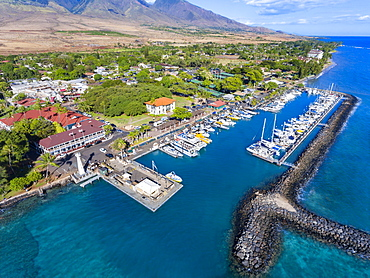 Aerial view of Lahaina harbour and town including the Pioneer Inn, Lahaina, Maui, Hawaii, United States of America