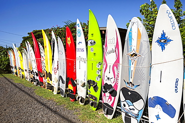 Old surfboards make for a creative fence, Paia, Maui, Hawaii, United States of America