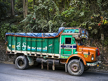 Colourful transport truck parked on the street, Sikkim, India
