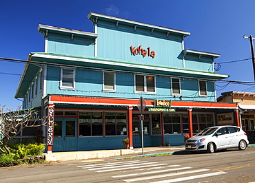 A colourful restaurant building, Bamboo, a renovated storefront in North Kohala, Hawi, Island of Hawaii, Hawaii, United States of America