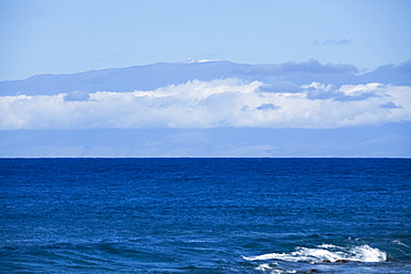 Mauna Kea with snow and observatories viewed from North Kohala coast, Island of Hawaii, Hawaii, United States of America