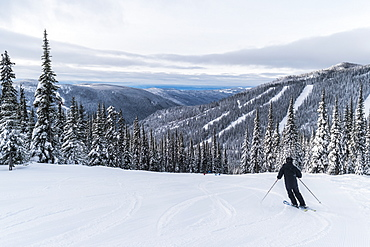 Skier on a run at Sun Peaks ski resort, Kamloops, British Columbia, Canada