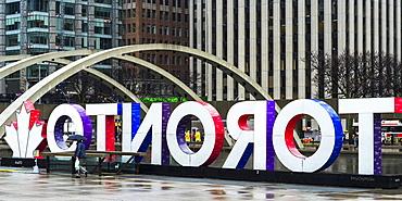 Toronto City Hall with colourful Toronto sign, Toronto, Ontario, Canada