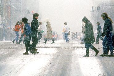 B.Klassen, People In City, Winter Storm.