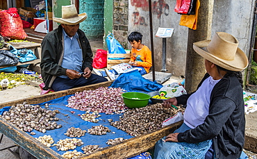 Couple peeling garlic at the market, Cajamarca, Peru
