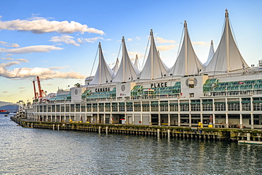 Canada Place, the cruise ship terminal in Burrard Inlet, Vancouver, BC, Canada