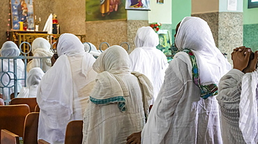 Eritrean women in white hijabs at the Enda Mariam Cathedral, Asmara, Central Region, Eritrea