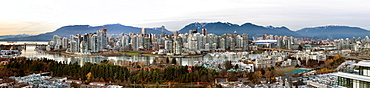 Panoramic cityscape of Vancouver, BC at dusk, Vancouver, British Columbia, Canada