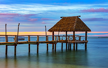 Pier off Malolo Island in the South Pacific at sunrise, Malolo Island, Fiji
