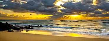 Sunrise from a beach on the coast of Kauai, Kauai, Hawaii, United States of America