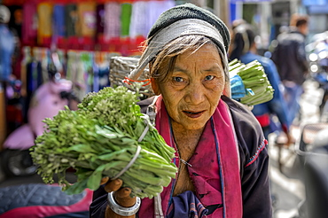 Senior woman selling vegetables at the market, Lashio, Shan State, Myanmar