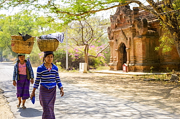 Women walking with loads on their heads, Bagan, Mandalay Region, Myanmar