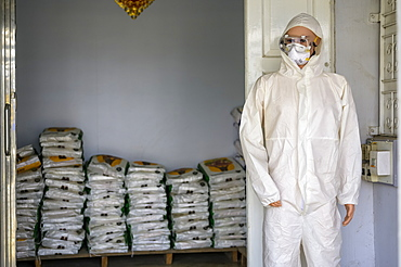 Pesticide suit and fertilizer for sale at a shop, Taungyii, Shan State, Myanmar