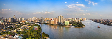 The view across the Zhujiang River from the White Swan Hotel. Five images were combined for this panorama image, Guangzhou, Guangdong province, China