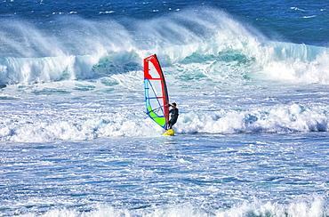 A windsurfer rides the breaking waves, Kihei, Maui, Hawaii, United States of America