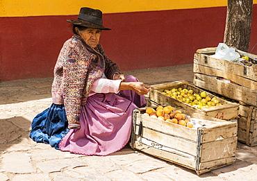 Woman selling fresh fruit, San Cristobal de Lipez, Potosi Department, Bolivia