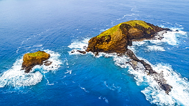 Aerial view of Mokuho'oniki Islet and Kanaha Rock near the island of Molokai, Maui County, Hawaii, United States of America
