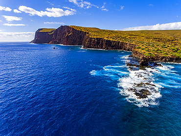 An aerial view of Palaoa Point and Sharkfin Rock off the island of Lanai, Lanai, Hawaii, United States of America