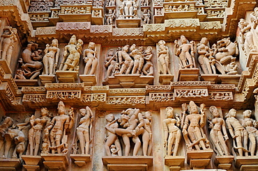 Erotic sculptures on the walls of Western group of monuments, Khajuraho, UNESCO World Heritage Site, Madhya Pradesh, India, Asia