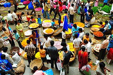 Flower Market, Bangalore, Karnataka, India, Asia