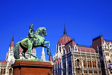 Bronze equestrian Monument of Ferenc II Rakoczi, Prince of Transylvania, in front of Hungarian Parliament Building, Budapest, Hungary, Europe