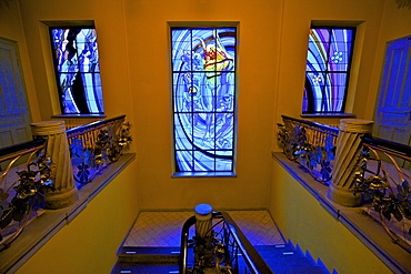 The Solar System, a stained glass window by Stanislaw Wyspianski in the Society of Physicians Building, Krakow, Poland, Europe