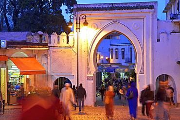 Bab El Fahs at dusk, Grand Socco, Tangier, Morocco, North Africa, Africa
