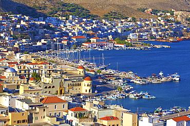 Harbour at Pothia, Kalymnos, Dodecanese, Greek Islands, Greece, Europe
