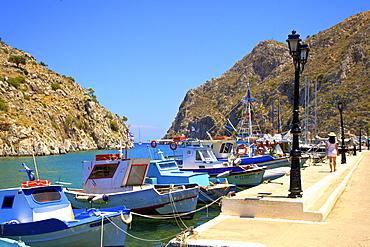 Fiord Port of Rina, Kalymnos, Dodecanese, Greek Islands, Greece, Europe