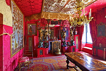 The Red Drawing Room, Hauteville House, Victor Hugo's House, St. Peter Port, Guernsey, Channel Islands, United Kingdom, Europe