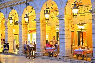 The Liston, Corfu Old Town, Corfu, The Ionian Islands, Greek Islands, Greece, Europe