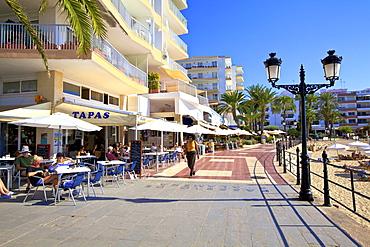 Seafront at Santa Eularia des Riu, Ibiza, Balearic Islands, Spain, Mediterranean, Europe
