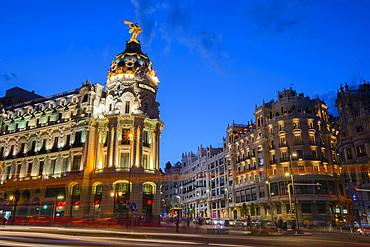 Metropolis Building at dusk, Madrid, Spain, Europe