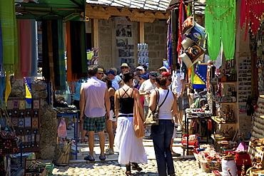 Tourists shopping, Mostar, Bosnia, Bosnia-Herzegovina, Europe