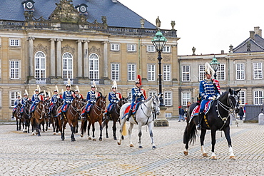 Guards on horseback, Changing of the Guard, Amalienborg Palace, Copenhagen, Denmark, Scandinavia, Europe