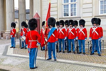Changing of the Guard, Amalienborg Palace, Copenhagen, Denmark, Scandinavia, Europe